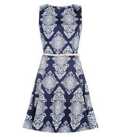 Mandi – Marineblaues Skater-Kleid mit Barockmuster