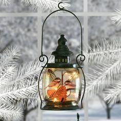 Chickadee Hand-Painted Lantern