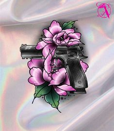#tattoo #design #drawing #gun #rose #peony #neotraditional #flowers Girly Tattoos, Rose Tattoos, Body Art Tattoos, Tattoo Ideas, Tattoo Designs, Arm Tats, Guns And Roses, Desenho Tattoo, Drawing Style