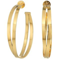 Tory Burch Double Wrap Hoop Earrings (Tory Gold) Earring (8.425 RUB) ❤ liked on Polyvore featuring jewelry, earrings, yellow gold earrings, post earrings, gold earrings jewelry, earring jewelry and tory burch