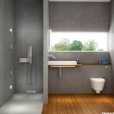 coté carrelage dans la douche à l'italienne, côté parquet lavabo et wc