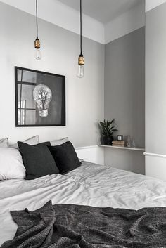 gray bedroom with pop of color 15 Bedroom Interior Design Ideas with Monochrome Themes For a More Elegant Look - Home Decor Bedroom Interior, Tiny Apartment, House Interior, Minimalist Bedroom, Bedroom Lamps Design, Modern Bedroom, Bedroom Colors, Bedroom Color Schemes, Monochrome Bedroom