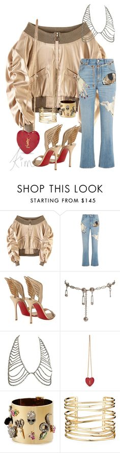 """Untitled #4046"" by kimberlythestylist ❤ liked on Polyvore featuring Alexander McQueen, Christian Louboutin, Versace, Yves Saint Laurent and Alexis Bittar"