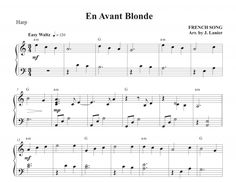 En Avant Blonde for Harp French Songs, Harp, Sheet Music, Music Sheets