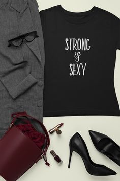 Discover Strong Is Sexy T-Shirt from Gymster Shirts, a custom product made just for you by Teespring. - Add some fun to your sport wardrobe with this. Funny Gym Shirts, Sport, Sweatshirt, Strong, Sexy, Women, Jackets, Deporte, Sweater Shirt