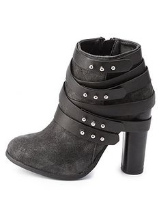 Dollhouse Belt-Wrapped Chunky Heel Booties: Charlotte Russe