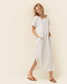 The Seaton Dress | Sand and White Checker