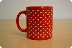 Red and White Heart Coffee Mug 80's Valentines