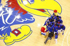 The Jayhawks come together in a huddle prior to opening the Big 12 season ~ 1.9.13