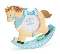 New Burton & Burton Blue Brown Baby Rocking Horse 3x3 Nursery Picture Frame #BurtonBurton