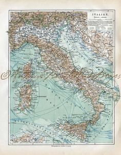 Map of Italy Showing Steamship Lines Railways and Cable Late 1800s German Original Lithograph
