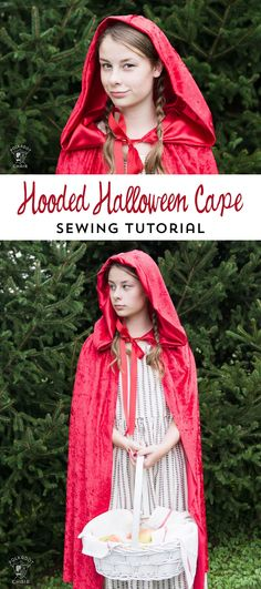 Learn how to make a hooded cape a great last minute DIY halloween costume. Free sewing pattern for a halloween hooded cape for kids or adults Easy Sewing Projects, Sewing Hacks, Sewing Tutorials, Sewing Tips, Simple Projects, Sewing Ideas, Craft Projects, Sewing Classes For Beginners, Capes For Kids