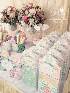 Loving these gorgeous party favor bags at Uma's Shabby chic 9th Birthday Party! See more party ideas at CatchMyParty.com