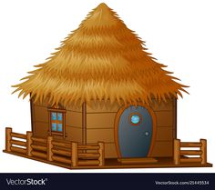 Cartoon hut on a white background vector image on VectorStock 3 Little Pigs Activities, Hut Images, 2d Character Animation, House Clipart, Beautiful Landscape Paintings, Alphabet Pictures, Book Letters, Three Little Pigs, House Drawing