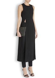 Black long-line crepe tunic - Women