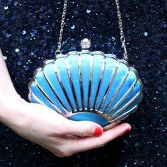 Shell Art Deco Clutch Teal