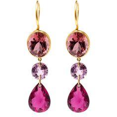 MARIE HÉLÈNE DE TAILLAC 22k Yellow Gold and Pink Tourmaline Earrings (41,235 CNY) ❤ liked on Polyvore featuring jewelry, earrings, yellow gold earrings, drop earrings, yellow gold jewelry, fine jewellery and lightweight earrings