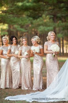 LOVE these sparkly bridesmaid dresses!