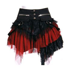 Red and Black Goth Punk Rock Clothing Modest Corset Skirts Women SKU-11406052 ($190) found on Polyvore