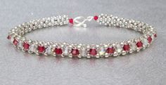 crystal beadwork bracelet red beaded bracelet silver by beadnurse