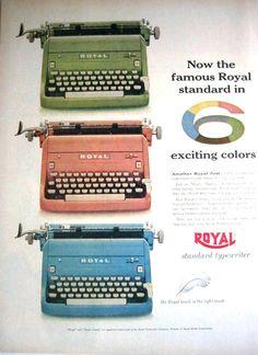1955 Royal Electric Typewriter Vintage Print Ad - Portable Standard in 6 Colors Retro Advertising, Vintage Advertisements, Vintage Ads, Vintage Prints, Vintage Photos, Retro Ads, Vintage Magazines, Vintage Style, Vintage Items
