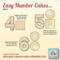 Cut cakes for Number cakes 4-6
