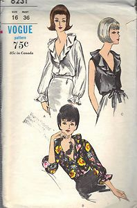 "Three Vintage Blouse Sewing Pattern 1970s Vogue 6231 Size 16 Bust 36 Hip 38"" Cut 