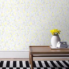 Papier peint vinyle grainé papier effet goutte d'eau jaune gris DROOPY Graham & Brown