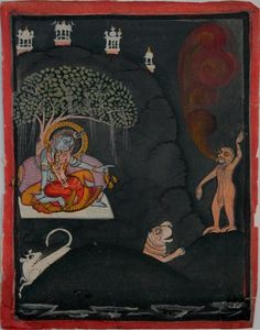 """Scene from a Shiva Purana. Shiva, Parvati, their vahanas (mounts/vehicles) and Andhaka asura. Mewar. Circa 1820-40. The demon may very well be 'Andhaka'/ 'Andhakaasura'. The name 'andhaka' is derived from 'andhakaara' (darkness). The story goes that the world was plunged into darkness when Parvati playfully sneaked up from behind and covered Shiva's eyes. It was during this time that the demon was born."" Collection of Peter Blohm."