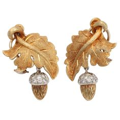 A pair of gold and diamond acorn-and-oak-leaf earrings, the acorn is a symbol of potential, and the oak, of durability. Antique Earrings, Antique Jewelry, Vintage Jewelry, Acorns To Oaks, Acorn And Oak, Badge Design, Fall Accessories, Fall Jewelry, Jewel Box