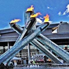 Vancouver 2010 Olympic Cauldron in Vancouver, BC. Home of the 2010 Winter Olympics, view the torches that were lit throughout the games ! Vancouver Tourism, 2010 Winter Olympics, Torches, Cauldron, Places To Visit, Fair Grounds, Explore, Games, City