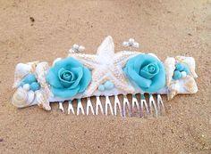 Bridal Comb of Sea Shells & Blossoms  Beach by NikushJewelryArt