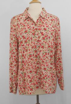 b29301ef447 J Jill Large Petite Floral Shirt Button Down Rayon Long Sleeve A-line NWT