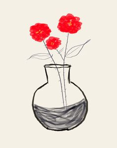 AshleyG illustration print with flowers - Sending You Flowers - red group. $20.00, via Etsy.