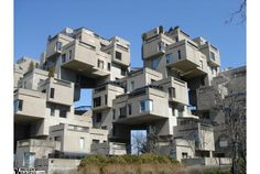 Habitat 67 in Montreal, Canada. It was designed by Canadian architect Moshe Safdie and has since become one of the most recognisable and significant buildings in both Montreal and Canada. Unusual Buildings, Famous Buildings, Interesting Buildings, Expo 67 Montreal, Montreal Ville, Montreal Canada, Montreal Quebec, Architecture Design, Amazing Architecture