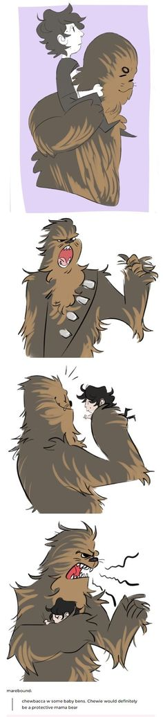 I love the idea of overprotective chewie but it also hurts me #StarWars #BenSolo