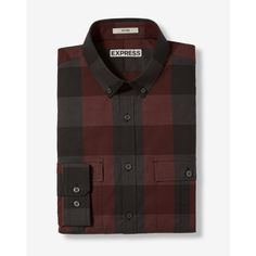 Express Fitted Plaid Button Collar Shirt ($70) ❤ liked on Polyvore featuring men's fashion, men's clothing, men's shirts, men's casual shirts, red, mens cotton shirts, mens tartan shirt, mens red plaid shirt, mens patterned shirts and mens red shirt