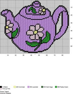 FLOWER TEAPOT by GrannyS Designs -- WALL HANGING