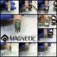 Paso a Paso, Foil, Nail Art, One Coat Color, Magnetic Nails