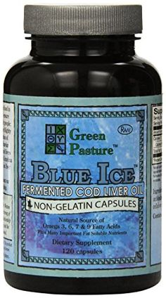 PureTrace Certified Green Pasture BLUE ICE Fermented Cod Liver Oil Non-Flavored 120 CAPSULES (1-pack)