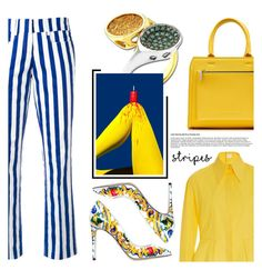 """""""Anastazio-Strong Stripes: Graphic Striped Pants"""" by anastazio-kotsopoulos ❤ liked on Polyvore featuring Dondup, Anastazio, Delpozo, Dolce&Gabbana and Victoria Beckham"""