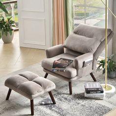 Comfy Reading Chair, Oversized Reading Chair, Reading Chairs, Oversized Chair And Ottoman, Reading Room, Velvet Wingback Chair, Modern Recliner, Bedroom Chair, Master Bedroom