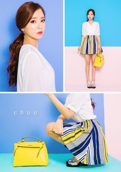 Give your look an artistic hint with this colorful striped skirt. High rise with elasticized waist, A-line silhouette and mid-thigh length, covered in uneven stripes with three colors. Team with a plain blouse for a more balanced look. // #chuu #chuuxoxo #kpop #fashion #style #koreanfashion #koreanstyle #ootd
