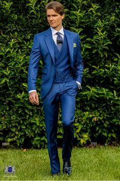 Traje de novio azul royal fresco mixto lana
