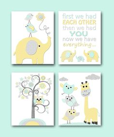 Yellow Grey Mint Baby Boy Neutral Nursery Canvas Elephant Nursery Quotes Art Baby Nursery Art Nursery Wall Art Kids Room Decor set of 4 by artbynataera on Etsy