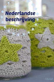 Ellebel: Beschrijving sfeerlichtje NL (also link to english pattern) Crochet Cozy, Crochet Gratis, Crochet Stars, Love Crochet, Beautiful Crochet, Diy Crochet, Crochet Basket Tutorial, Crochet Home Decor, Crochet Kitchen