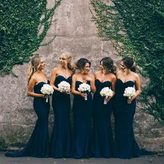 Elegant Black Bridesmaid Dresses Black and White Wedding Ideas Black and White Wedding Theme Black and White Wedding Styling Black and White Wedding Decor Black and White Wedding Inspiration Wedding Goals, Wedding Attire, Wedding Dresses, Midnight Blue Bridesmaid Dresses, Elegant Bridesmaid Dresses, Mermaid Style Bridesmaid Dresses, Wedding Bouquets, Navy Blue Bridesmaids, Bridesmade Dresses