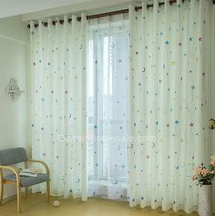 Faux Silk Fabric Kids Curtain print With Star Pattern