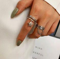 #aestheticrings #aestheticjewelry #grungerings #grungejewelry Ring Ring, Aesthetic Rings, Aesthetic Fashion, Tassels, Silver Rings, Chain, Sterling Silver, Pendant, Creative