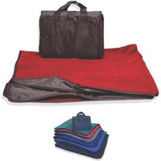 """Waterproof picnic blanket. This picnic blanket is lined with soft and comfortable fleece and durable water repellent shell. The easy carry design unfolds into a full size picnic blanket. You are guaranteed to stay comfortable no matter what the conditions are. Interior: Anti-pill polyester fleece, 360 g/y. Shell: 200 Denier Oxford, DWR, PU Coating. Measures 50"""" x 60""""."""